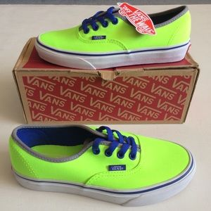 NWT Vans Neon Green & Blue Authentic Brite Shoes